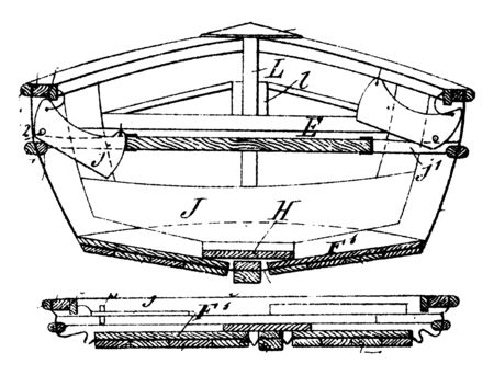 Collapsible Boat includes a skeleton and an impervious skin tensioned about the skeleton, vintage line drawing or engraving illustration.