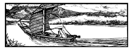 Chinese Sailboat where the English name comes from Javanese jong meaning ship or large vessel and Junks were originally developed during the Han Dynasty, vintage line drawing or engraving illustration.