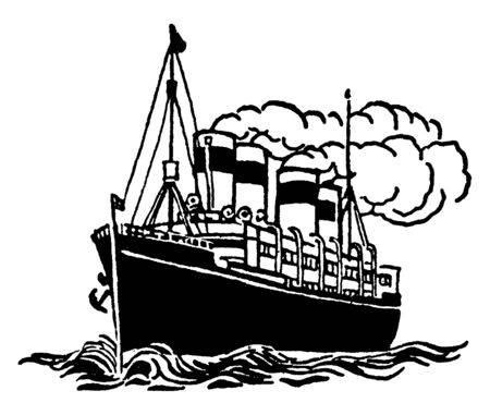 Steam Powered Ship with steam billowing out of its smoke shafts, vintage line drawing or engraving illustration.