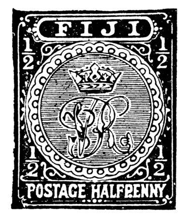 This illustration represents Fiji Islands Halfpenny Stamp in 1892, vintage line drawing or engraving illustration.