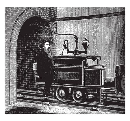 Siemens and Halske Electric Engine was the first electric railway built in Berlin in 1879, vintage line drawing or engraving illustration. Çizim