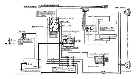 Bijur starting and lighting installation on King Eight Cylinder Cars Model EE, vintage line drawing or engraving illustration.