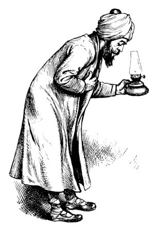 A Persian man holding lamp in hand and bowing, vintage line drawing or engraving illustration