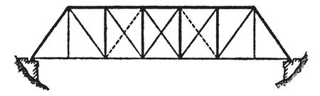 El diseño de Bridge Platt Truss incluye componentes verticales y diagonales que se inclinan hacia el centro, dibujo de línea vintage o ilustración de grabado.