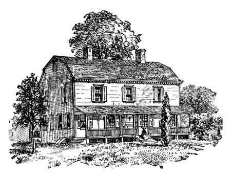 Petersfield, the Residence of Governor Peter Stuyvesant,vintage line drawing or engraving illustration.