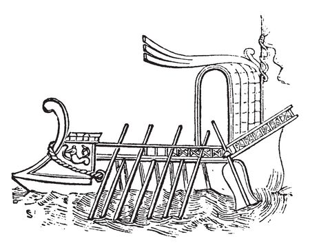 Ancora used by the ancients was for the most part made of iron, vintage line drawing or engraving illustration.
