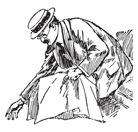 A man bending down to pick something up, vintage line drawing or engraving illustration