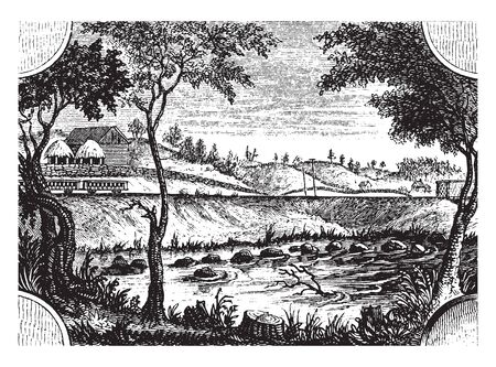 Place where the British crossed the river,vintage line drawing or engraving illustration