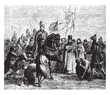 Kazan submitting to Ivan the Terrible in 1552, vintage line drawing or engraving illustration. Ilustração
