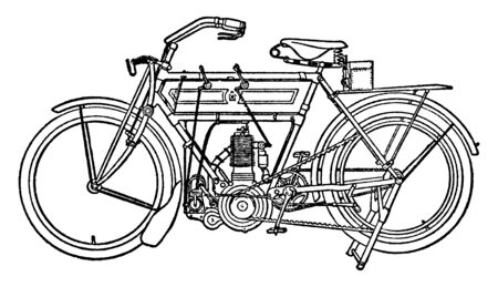 Motor Bicycle is a single track two wheeled motor vehicle powered by an engine, vintage line drawing or engraving illustration. Illustration