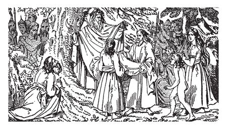 Druids was at the height of at the time of the Roman invasion uner Julius Caesar, vintage line drawing or engraving illustration. 向量圖像