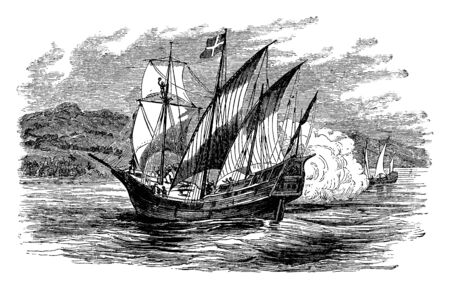 The New World which is a drawing of the discovery of the New World, vintage line drawing or engraving illustration.