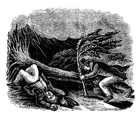 A man fallen on ground due to storm and another man taking support of branch of tree, vintage line drawing or engraving illustration Ilustração