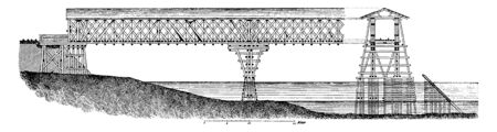 Lattice Bridge is a form of truss bridge that uses a large number of small and closely spaced diagonal elements that form a lattice, vintage line drawing or engraving illustration.