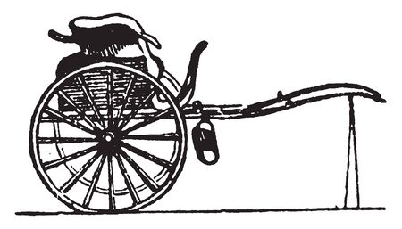 Gig is a light two wheeled vehicle drawn by one horse, vintage line drawing or engraving illustration. Illustration