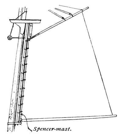 This illustration represents Mast with Spencer Mast Attachment, vintage line drawing or engraving illustration. Stock Illustratie