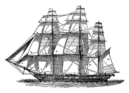 Ship Sails is a piece of cloth or tissue of some kind spread to the wind to impel or assist in impelling a vessel through the water, vintage line drawing or engraving illustration. Stok Fotoğraf - 132896975