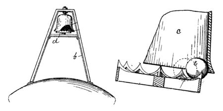 Bell Buoy is a floating device that can have many different purposes, vintage line drawing or engraving illustration. Ilustração