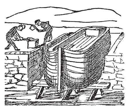 Dock is the area of water between or next to one or a group of human made structures, vintage line drawing or engraving illustration.