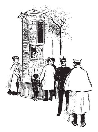 People and child around pillar on street, vintage line drawing or engraving illustration 向量圖像