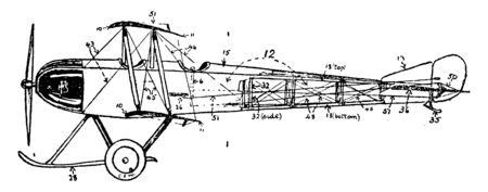 Propeller Aeroplane Side Plan the plan shows the proper ribs and skeleton for the wings and back side of the plane, vintage line drawing or engraving illustration. Ilustracja