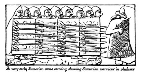 Stone Carvings of Sumerian Warriors were a people of mysterious origin called Sumerians, vintage line drawing or engraving illustration.