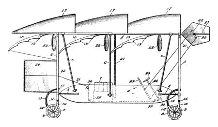Early Design Aeroplane in which the landing apparatus features two sets of wheels, vintage line drawing or engraving illustration.