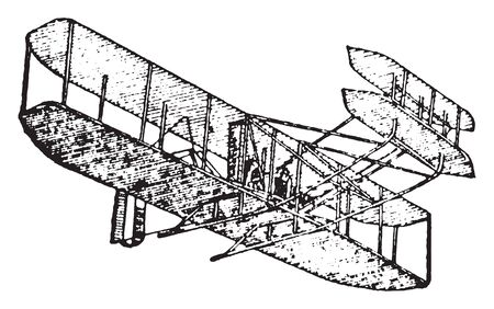 Aeroplane is a powered and fixed wing aircraft that is propelled forward by thrust from a jet engine or propeller, vintage line drawing or engraving illustration.