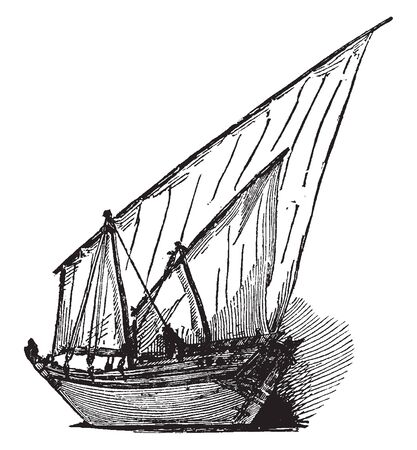 Dhow is an arab vessel generally with one mast and used for trading goods and sometimes transporting slaves, vintage line drawing or engraving illustration. Stock Illustratie