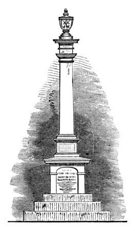 Warren's Monument created in memory of Mason and fallen Bunker Hill hero Dr. Joseph Warren,vintage line drawing or engraving illustration Vectores