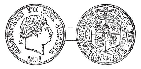 George III was King of Great Britain and King of Ireland from 25 October 1760 until the union of the two countries on 1 January 1801, vintage line drawing or engraving illustration.