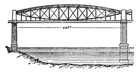 Saltash Bridge is a railway bridge which spans the River Tamar in England between Plymouth, vintage line drawing or engraving illustration.
