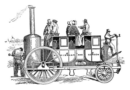 A Precursor of the Automobile which one of the earliest models of the automobile which was steam powered, vintage line drawing or engraving illustration.