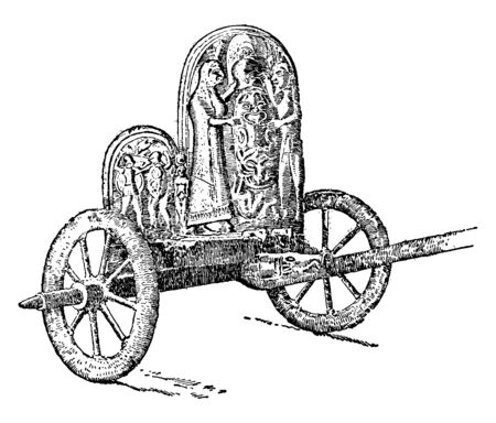 A Graeco Ertuscan Chariot every part of the vehicle is covered with thin plates of bronze, vintage line drawing or engraving illustration. Illustration