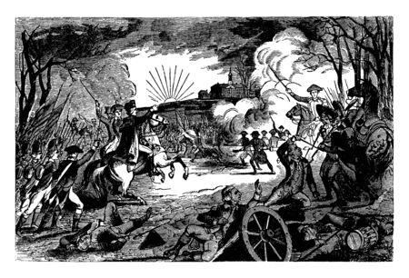 Battle between General George Washingtons revolutionary forces and British forces,vintage line drawing or engraving illustration.