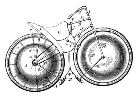 Marine Velocipede is a form of waterborne transport primarily for recreational use powered through the use of pedals, vintage line drawing or engraving illustration. Ilustrace