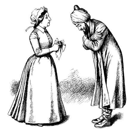 A man bowing to woman, , vintage line drawing or engraving illustration