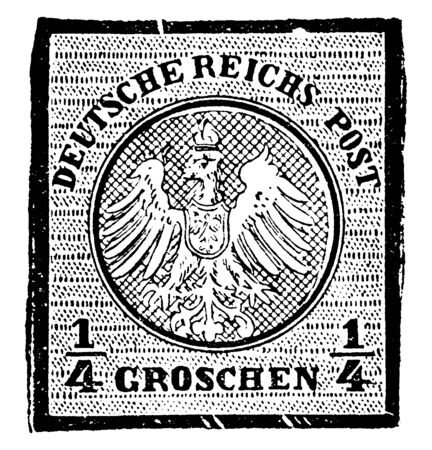 This image represents Germany one and fourth Groschen Stamp in 1871, vintage line drawing or engraving illustration.