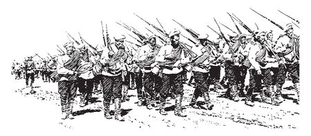 Infantry which is Russian infantry on the march, vintage line drawing or engraving illustration.
