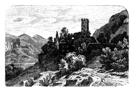 Falkenstein Castle is a High Middle Ages castle ruin in the Bavarian Alps, vintage line drawing or engraving illustration.