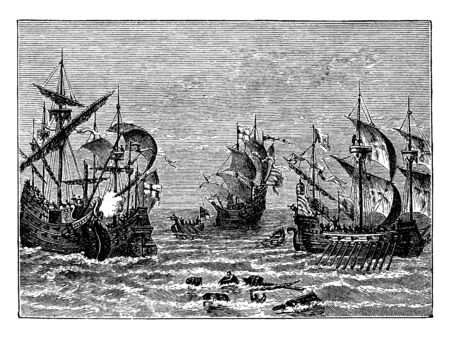 English and Spanish Warships 1588 which is a ship that is built and primarily intended for combat, vintage line drawing or engraving illustration.