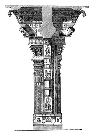 Pillar in Trimal Naik Tschultri is a resting place for visitors where rooms and food are provided by a charitable institution for nominal rates, vintage line drawing or engraving illustration. Фото со стока - 132900350
