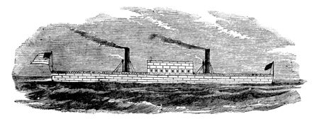 Stevens Ironclad Floating Battery applied the wave line concave waterlines on a steamboat hull in 1808, vintage line drawing or engraving illustration.