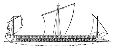 An Athenian Trireme has three rows of oars on each side with a man operating each oar, vintage line drawing or engraving illustration.