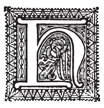 An ornamental and decorative letter H, vintage line drawing or engraving illustration Vettoriali