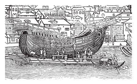 Ship Building is the construction of ships and other floating vessels, vintage line drawing or engraving illustration. Ilustração