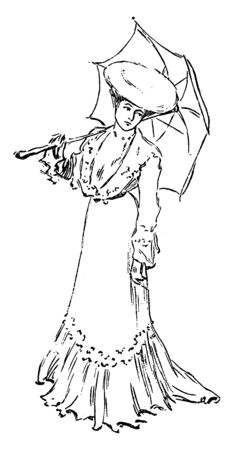 A woman holding a parasol, vintage line drawing or engraving illustration