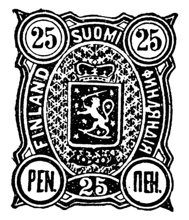 Finland 25 Pen Stamp in 1890 issue of three Finnish first class stamps drawn by and celebrating the work of Finnish artist Tom of Finland, vintage line drawing or engraving illustration.