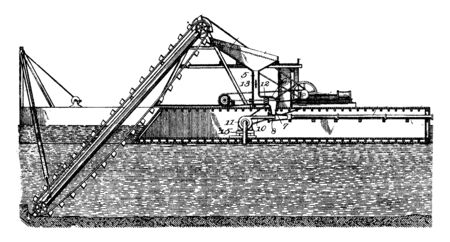 Excavating Purpose Dredger is an excavation activity or operation usually carried out at least partly underwater, vintage line drawing or engraving illustration.