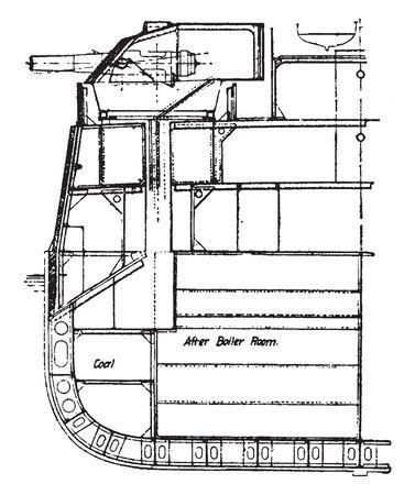 Half Section of a Battleship used during the latter half of World War II, vintage line drawing or engraving illustration.
